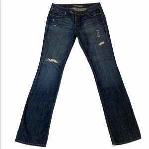 Level 99 Bootcut Blue Jeans with Floral Inset